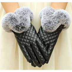 Fow Fow - Faux Fur Faux Leather Gloves