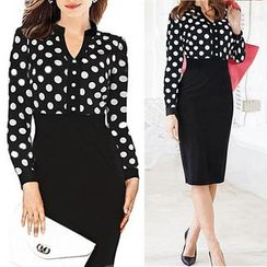 Forest Of Darama - Polka Dot Panel Midi Sheath Dress