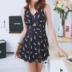 Little Dolphin - Lipstick Print Swimdress