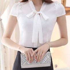 Aikoo - Short-Sleeve Tie-Neck Chiffon Blouse