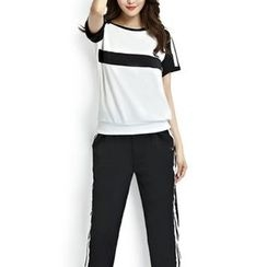 Cobogarden - Set: Short-Sleeve Striped T-Shirt + Striped Sweatpants