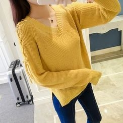 RUI - Lace-Up V-Neck Sweater