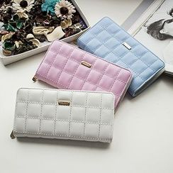 SUOAI - Quilted Faux Leather Long Wallet