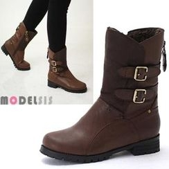 MODELSIS - Buckled Zip-Up Boots