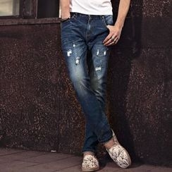 Dot2Dot - Distressed Straight-Cut Jeans