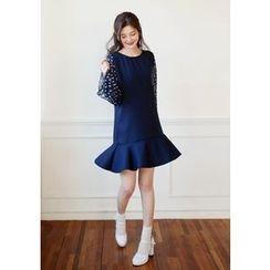DEEPNY - Floral Print Sleeve Ruffled Mini Dress