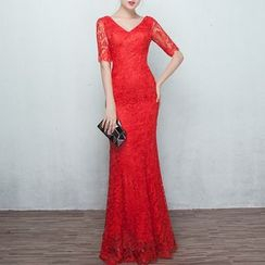 Shannair - Short-Sleeve Lace Evening Gown