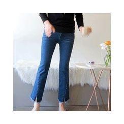 LEELIN - Cutout Fringed-Hem Jeans