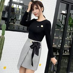 Mukouf - Set: Long-Sleeve Plain T-Shirt + Wrap A-line Skirt