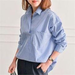 JOAMOM - Pocket-Detail Striped Shirt