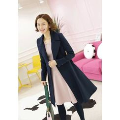 Lemite - Wide-Collar Snap-Button Trench Coat with Sash