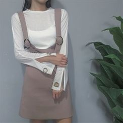 Bloombloom - Set: Slit Cuff Long-Sleeve T-Shirt + Suspender Skirt