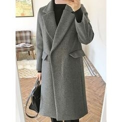 STYLEBYYAM - Notched-Lapel Snap-Button Coat