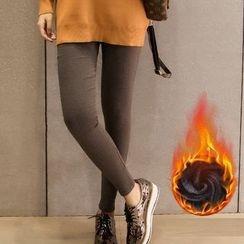 Happy Girl - Fleece-Lined Printed Leggings