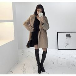 Miamasvin - Double-Breasted Faux-Shearling Coat