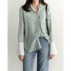 UPTOWNHOLIC - Contrast-Trim Striped Shirt