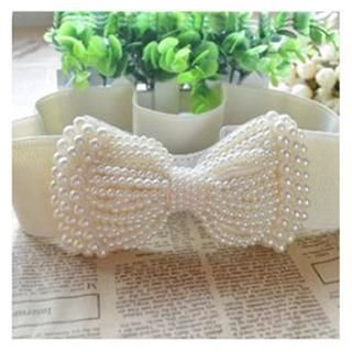 Charm n Style - Faux Pearl Bow-Accent Elastic Belt