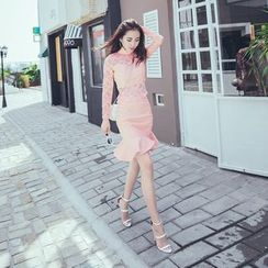 Bossy Lady - Set: Lace Panel PU Top + Ruffle Skirt