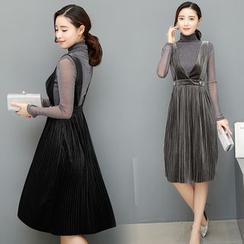 Mandalle - Set: Long-Sleeve Velvet Jumper Dress + Long-Sleeve Glitter Top