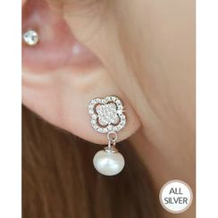 Miss21 Korea - Clover Faux-Pearl Dangled Silver Earrings