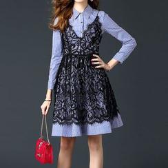 Alaroo - 套装: 条纹A字衬衫连衣裙 + 蕾丝幼肩带连衣裙