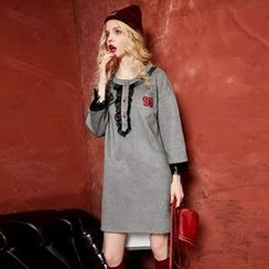 ELF SACK - Long-Sleeve Faux-Suede Dress