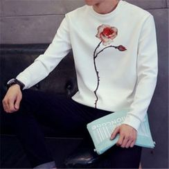Alvicio - Flower Printed Round Neck Long-Sleeved T-Shirt