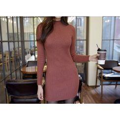 Envy Look - Mock-Neck Knit Mini Bodycon Dress