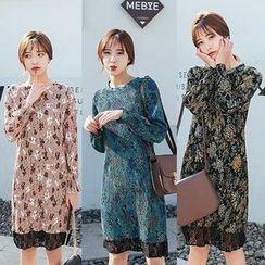 Maine - Lace-Panel Floral Sheath Dress