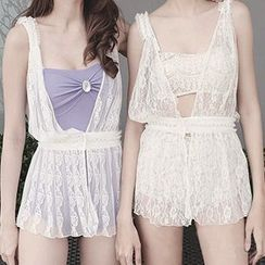 Moonrise Swimwear - Set: Lace Bikini + Cover-Up Playsuit