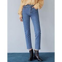 FROMBEGINNING - Fray-Hem Straight-Cut Jeans
