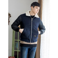 GERIO - Fleece-Collar Color-Block Jacket