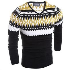 Hansel - Patterned V-Neck Sweater
