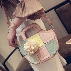 Aishang - Top Handle Cross Body Bag with Corsage Charm