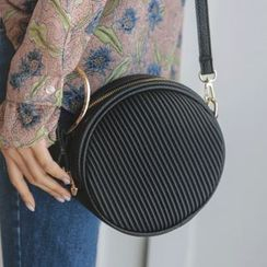 JUSTONE - Hoop-Accent Quilted Tambourine Shoulder Bag
