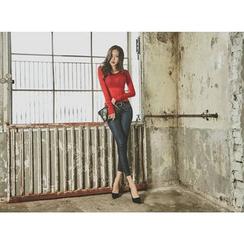UUZONE - Coated Skinny Jeans