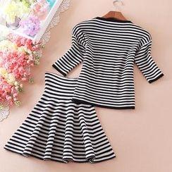 Fair Maiden - Set: Short-Sleeve Striped Knit Top + A-Line Skirt