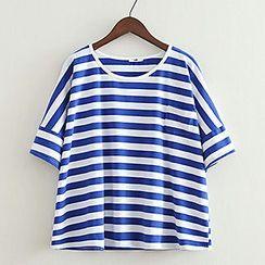 ninna nanna - Striped Short-Sleeve Crewneck T-Shirt