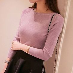 Cotton Candy - Boatneck Knit Top