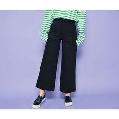 HOTPING - Band-Waist Wide-Leg Pants