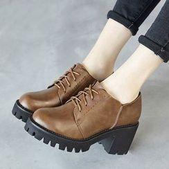 Ammie - Block Heel Leather Oxfords