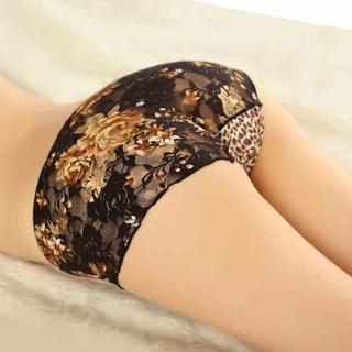 Charming Lover - Leopard Print Panel Lace Panties