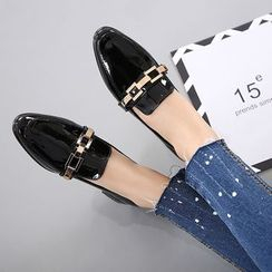 Anran - Low Block Heel Patent Loafers