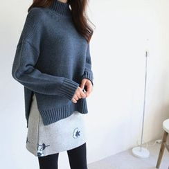 Hello sweety - Mock-Neck Dip-Back Sweater