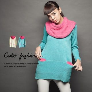 CUTIE FASHION - Contrast-Pocket Sweater with Circle Scarf