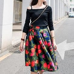 Eva Fashion - Floral Midi Skirt