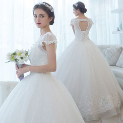 MSSBridal - Cap Sleeve Maternity Wedding Ball Gown