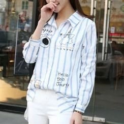Cobogarden - Long-Sleeve Embroidered Striped Shirt