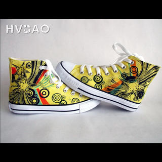 HVBAO - 'Colorful World' High-Top Canvas Sneakers