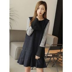 BBAEBBAE - Sleeveless Checked Wool Blend Dress